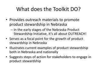 What does the Toolkit DO?