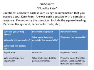 "Bio Squares ""Klondike Kate"""