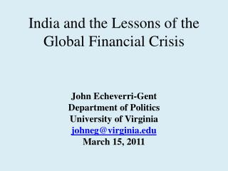 India and the Lessons of the Global Financial Crisis
