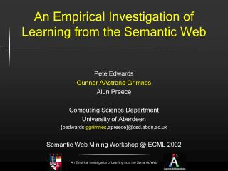 An Empirical Investigation of  Learning from the Semantic Web