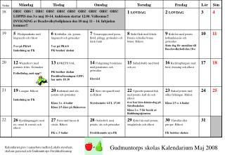 Gudmuntorps skolas Kalendarium Maj 2008