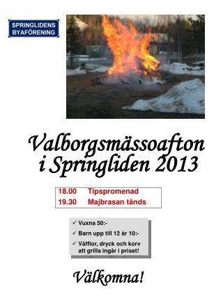 Valborgsmässoafton  i Springliden 2013