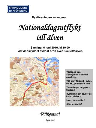 Byaf�reningen arrangerar  Nationaldagsutflykt  till �lven