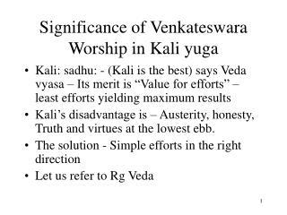 Significance of Venkateswara Worship in Kali yuga