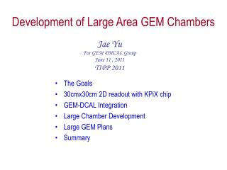 Development  of Large Area GEM Chambers