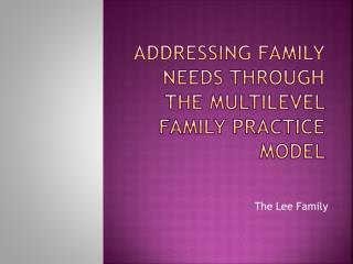 aDDressing family needs through the Multilevel Family Practice Model