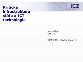 Kritick � infrastruktura  st �tu a ICT technologie