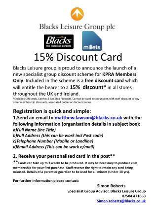 15% Discount Card