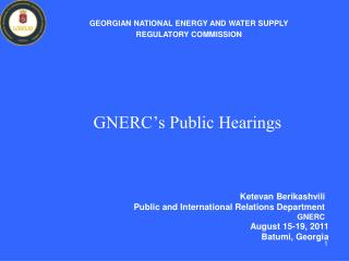 GNERC�s Public Hearings