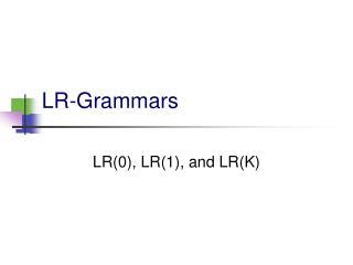 LR-Grammars