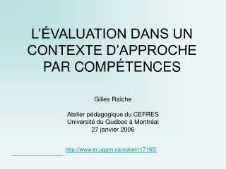 L  VALUATION DANS UN CONTEXTE D APPROCHE PAR COMP TENCES