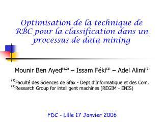 Optimisation de la technique de RBC pour la classification dans un processus de data mining