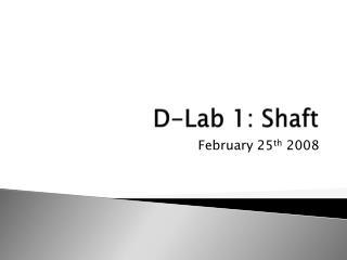 D-Lab 1: Shaft