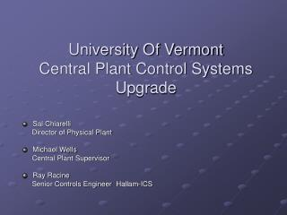 University Of Vermont Central Plant Control Systems  Upgrade