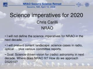 Science imperatives for 2020