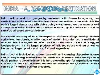 INDIA – A  PREFERRED DESTINATION