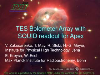 TES Bolometer Array with SQUID readout for Apex