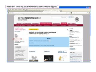 Institutt for sosiologi, statsvitenskap og samfunnsplanlegging