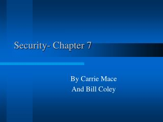 Security- Chapter 7