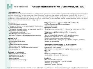 Funktionsbeskrivelse for HR & Uddannelse, feb. 2012