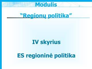 I V  skyrius ES regionin ė politika