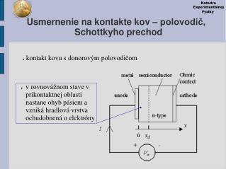 Usmernenie na kontakte kov  –  polovodič, Schottkyho prechod