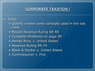 CORPORATE TAXATION I