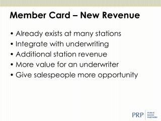 Member Card – New Revenue