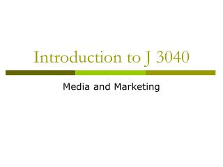 Introduction to J 3040