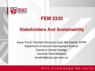 FEM 3335 Stakeholders And Sustainability