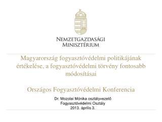 Dr. Mozolai Mónika osztályvezető Fogyasztóvédelmi Osztály 2013. április 3.
