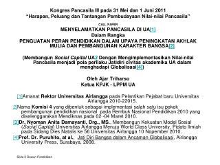 Kongres Pancasila III pada 31 Mei dan 1 Juni 2011