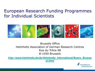 European Research Funding Programmes for Individual Scientists