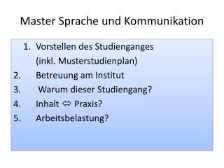 Master Sprache und Kommunikation
