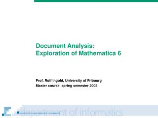 Document Analysis: Exploration of Mathematica 6