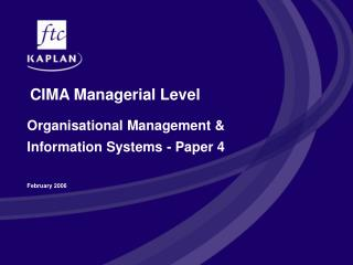 CIMA Managerial Level
