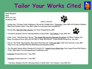 Tailor Your Works Cited