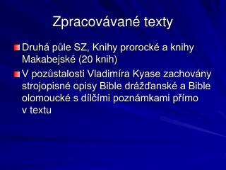 Zpracovávané texty