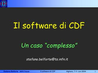 Il software di CDF