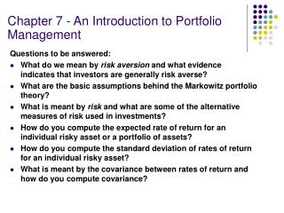 Chapter 7 - An Introduction to Portfolio Management