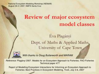 Review of major ecosystem model classes