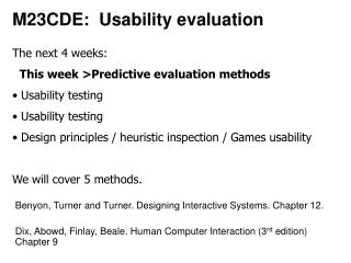 M23CDE:  Usability evaluation