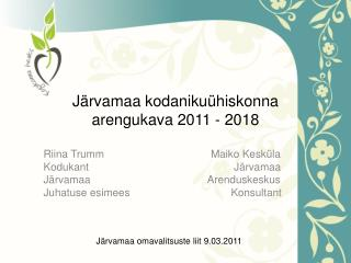 Järvamaa kodanikuühiskonna arengukava 2011 - 2018