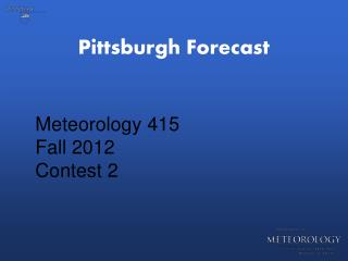 Pittsburgh Forecast