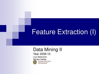 Feature Extraction (I)