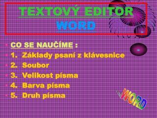 TEXTOVÝ EDITOR WORD