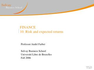 FINANCE 10. Risk and expected returns