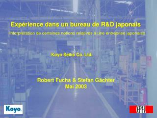 Exp é rience dans un bureau de R&D japonais