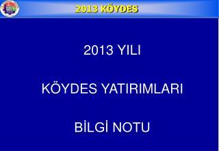 2013 YILI KÖYDES YATIRIMLARI BİLGİ NOTU