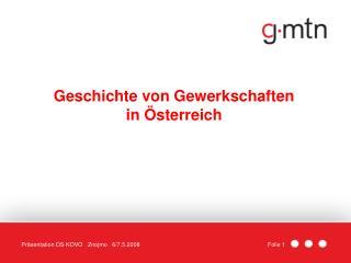 Geschichte von Gewerkschaften in Österreich